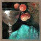 Pewter and Cherries with Turquoise Fabric