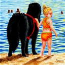 The Lifeguard - Painting of Child with Newfoundland Dog