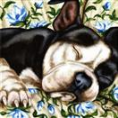 Sofa Siesta ll - Staffordshire Terrier Dog Painting