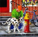 Urban Pit Stop - Dalmatian Dog Art Painting