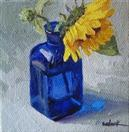 Pocket Painting - Sunflower and Blue Bottle