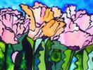 Salmon Poppy Trio, painting on glass