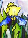 'The Four Irises:  Second Part', painting on glass