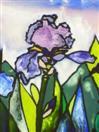 The Four Irises:  Iris Number Three, painting on glass
