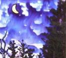 Mountain Moon Glow, painting on glass