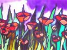 Red Poppies, Lavender Skies, painting on glass
