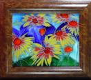 'Indian Blanket' Queen Western Wildflower' by Karla Nolan, framed painting on glass