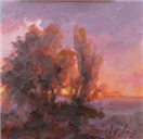 sunset impressionist oil daily painting by BECKY JOY