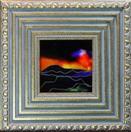 'Atmospheric Sunset I' by Karla Nolan, framed glass painting
