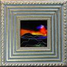'Atmospheric Sunset I' by Karla Nolan, framed glass painting
