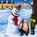 Snow Day - Kids with Snowman