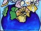 Lovin' Pansies, painting on glass