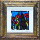 Little Red Coquelicot, painting on glass