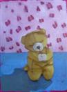 Meditating Bear in a Pink Room