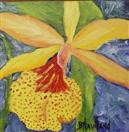 Yellow Orchid miniature oil painting