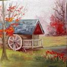 Grist Mill miniature oil painting