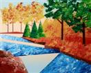Daily Painter - Abstract Autumn River Landscape - Original Oil and Acrylic Art - Painting a Day by N