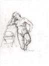 Young Nude Female Model Kneeling on One Knee
