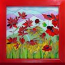 'Wild Red Flowers' by Karla Nolan, framed painting on glass