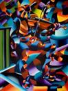 Daily Painters Blog - The Violin Player in Paris Oil Painting - Abstract Futurism - A Painting a Day