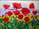 'Oriental Poppy Patch' by Karla Nolan, FRAMED glass painting