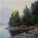 Trees and water at dawn atmosphere oil study by BECKY JOY
