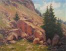 mountain rocks hillside oil painting by BECKY JOY