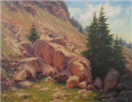 mountain rocks hillside oil painting by BECKY JOY