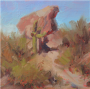 oil study of desert saguaro cactus by BECKY JOY