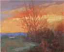 Winter Sunset with trees and mts by BECKY JOY