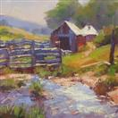 Farm Scene oil daily painting by BECKY JOY