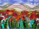 'Springtime = Poppy Time' by Karla Nolan, framed glass painting