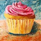 Giant Cupcake Painting 36x36' - A Painting a Day - Original Oil and Acrylic Artwork by Northern Cali