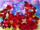 'Poppy Mass' by Karla Nolan, framed glass painting