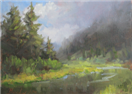Mountain and river oil study by BECKY JOY