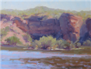 Plein air painting on a hot morning at Lake Pleasant by BECKY JOY