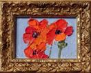 'Red Poppy Painting #2' by Karla Nolan, FRAMED palette knife miniature oil painting